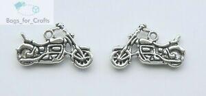 Tibetan Silver Motorbike Motorcycle Charms Pendants 24mm (TC34) Double Sided