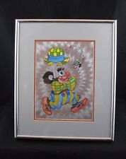 Unique Foil Art Very Colorful CLOWN Picture-Professionally Framed 10X12 w/Mats