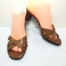 Women's Talbots Brown Leather Slip on Mules Sandals Chunky Heel Size 7.5 AA New