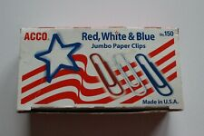 Acco Usa Red White Blue Jumbo Paper Clips 150 Count