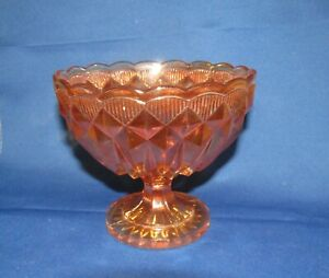 Vintage Marigold Orange Carnival Glass Compote/Sugar/Sweet Bowl/Dish
