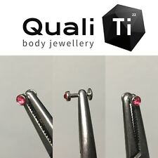 Indian pink Swarovski crystal flat attachment and labret