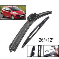 Front Rear Windscreen Wiper Blades For Peugeot 107 Toyota Aygo Citroen C1 05-14