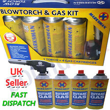 BLOWTORCH & GAS KIT 4 Bottles FLAMETHROWER Soldering WELDING Plumbing HOBBY UK