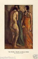 Das Gewissen Kunstdruck von 1928 Fritz von Radler weiblicher Akt Kleid Frauen +