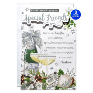 SPECIAL FRIENDS CHRISTMAS CARD ~ 8 PAGE VERSE MODERN DESIGN  ~QUALITY CARD