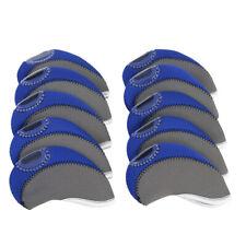 Set of 10 Neoprene Golf Iron Club Head Covers with Clear Window Blue