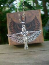 Goddess Isis Pendant Necklace + Egyptian Box -  Amulet Ra Udjat Egypt Osiris
