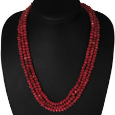 TOP GRADE SELLING 311.00 CTS NATURAL FACETED 3 STRAND RED RUBY BEADS NECKLACE