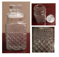 "VINTAGE Anchor Hocking WEXFORD Clear 9.5"" Canister Jar with Lid"