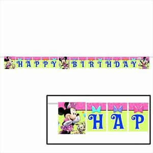 Disney Minnie Mouse Pink Bows Happy Birthday Party Banner Supplies 8.41'