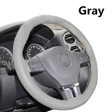 Gray Car Steering Wheel Cover Hand Sew-era Perforated Real Leather W/ Gray Line