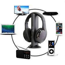 5 en1 Sans Fil Ecouteur Casque Audio HiFi Moniteur FM Radio MIC Pr MP4 PC TV DVD