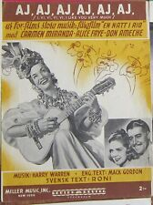 Harry Warren Mack Gordon Carmen Miranda Don Ameche original Swedish sheet music
