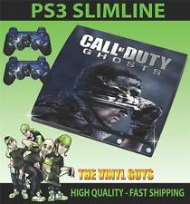 PLAYSTATION 3 SLIM PS3 SLIM cod CALL OF DUTY GHOSTS 01 ADESIVO SKIN e 2 pad Pelle