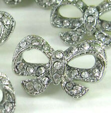 """8 Lovely 5/8"""" Sparkling Clear Crystal/Rhinestone Metal Bow Shank Buttons N112"""
