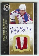 2007-08 THE CUP BRANDON DUBINSKY AUTO PATCH 36/54 GOLD RANGERS RC 3 COLOR JERSEY