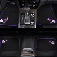 Car Floor Mats Universal Purple Black Butterfly Anti-slip For Honda Toyota Ford