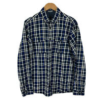 Jack & Jones Mens Button Up Shirt Size Medium Blue Plaid Long Sleeve Collared