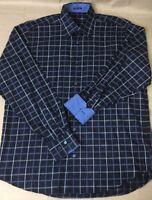 Bugatchi Uomo Flip Cuff Check Dress Shirt Mens M Medium