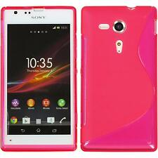 Silicone Case for Sony Xperia SP S-Style hot pink + protective foils
