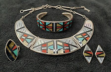 Vintage Native American Jewelry Zuni Inlay Silver Necklace Bracelet Earrings