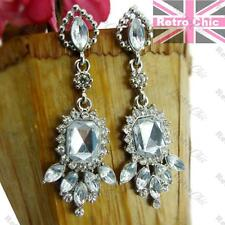 5cm ART DECO STYLE vintage silver fashion PROM EARRINGS crystal white RHINESTONE