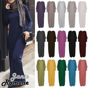 New Womens Plain Abaya Islamic Burkha Kaftan Farasha Arab Jilbab Long Maxi Dress