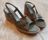 HS Trask and Co Women's Wedge Heels size 9 N Green Leather Slingback Buckle Boho
