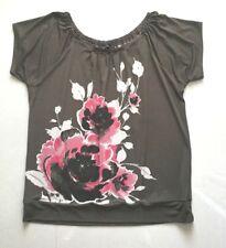 Women Multi Color The Limited Cap Sleeve Round Neckline Floral Knit Top sz XL