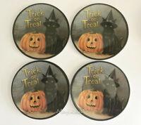 "Halloween Black Cat Pumpkin Melamine Tidbit Candy Appetizer Plates 6"" Set of 4"