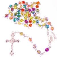Christian rainbow flower multi-coloured rosary beads acrylic 6mm beads