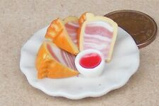 1:12 Scale Handmade Pork Pie Slices On A 3.5cm Ceramic Plate Dolls House Food T