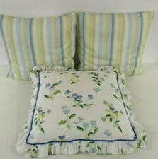 3 Handmade Cushions, Feather Pads, Green Blue Yellow Flowers & Stripes