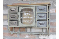 Vintage Industrial Style Wall Cabinet - Storage - Small Wall Unit with Hooks