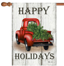 Toland Red Truck Holidays 28 x 40 Rustic Happy Christmas Tree House Flag