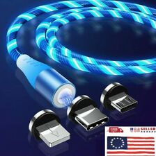 3in1 Magnetic DATA LED FLOWING Type C Micro USB Lightning Charger Charging Cable