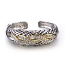 Two Tone Braided Hinge Bracelet W Clear Stones Rhodium Plate