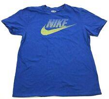 Nike Shirt Size Large L Athletic Cut Blue Yellow Tee Short Sleeve Swoosh Adult
