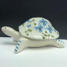 Portugal turtle figurine trinket jewelry box tortoise porcelain shell lid statue
