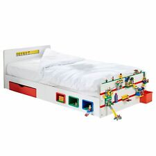 ROOM 2 BUILD SINGLE STORAGE BED KIDS WITH BUILDING BRICK FEATURES