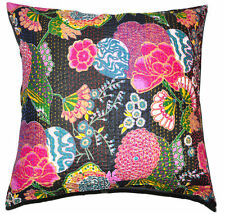 24x24 Black pillow decorative throw Pillow Cover, floral Kantha throw Pillow