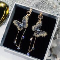 1 Pair Korean Embroidery Butterfly Crystal Long Tassel Dangle Earrings Jewelry