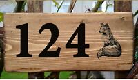 Fox House Number Sign Door Plaque Street Address Plate House Gate Wall Rustic