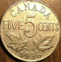 1936 CANADA 5 CENTS COIN