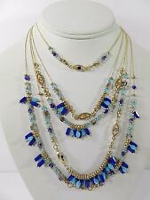 M. Haskell for INC Gold-Tone Blue Beaded Evil-Eye Multi-Layer Necklace