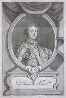 1735ca LOUIS XV rara acquaforte originale Marcantonio Dal Re Luigi XV di Francia