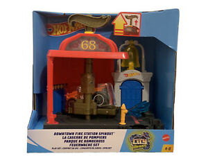 Hot Wheels City Downtown Fire Station Spinout inc 1 Vehicle BNIB
