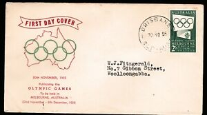 1955 OLYMPIC GAMES PUBLICITY PRE-DECIMAL STAMP WESLEY FIRST DAY COVER #55.44