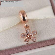 Genuine Rose Gold ABBAGLIANTE Daisy Ciondolo Charm S 925 + Sacchetto Regalo